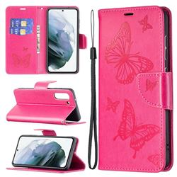 Embossing Double Butterfly Leather Wallet Case for Samsung Galaxy S21 FE - Red