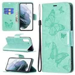 Embossing Double Butterfly Leather Wallet Case for Samsung Galaxy S21 FE - Green