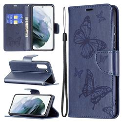 Embossing Double Butterfly Leather Wallet Case for Samsung Galaxy S21 FE - Dark Blue