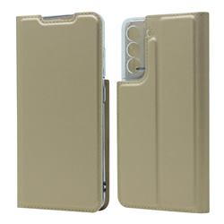 Ultra Slim Card Magnetic Automatic Suction Leather Wallet Case for Samsung Galaxy S21 FE - Champagne