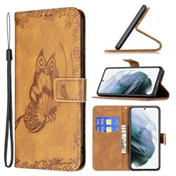 Binfen Color Imprint Vivid Butterfly Leather Wallet Case for Samsung Galaxy S21 FE - Brown