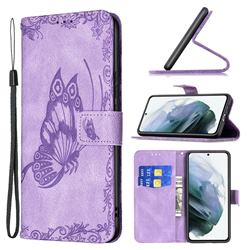 Binfen Color Imprint Vivid Butterfly Leather Wallet Case for Samsung Galaxy S21 FE - Purple