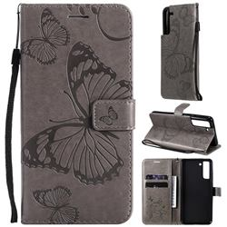 Embossing 3D Butterfly Leather Wallet Case for Samsung Galaxy S21 FE - Gray