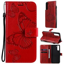 Embossing 3D Butterfly Leather Wallet Case for Samsung Galaxy S21 FE - Red