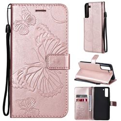 Embossing 3D Butterfly Leather Wallet Case for Samsung Galaxy S21 FE - Rose Gold