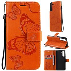 Embossing 3D Butterfly Leather Wallet Case for Samsung Galaxy S21 FE - Orange