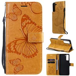Embossing 3D Butterfly Leather Wallet Case for Samsung Galaxy S21 FE - Yellow