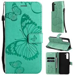 Embossing 3D Butterfly Leather Wallet Case for Samsung Galaxy S21 FE - Green