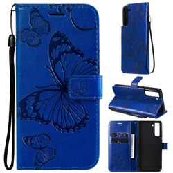 Embossing 3D Butterfly Leather Wallet Case for Samsung Galaxy S21 FE - Blue