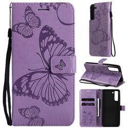 Embossing 3D Butterfly Leather Wallet Case for Samsung Galaxy S21 FE - Purple