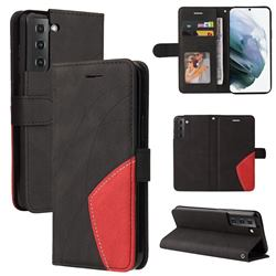 Luxury Two-color Stitching Leather Wallet Case Cover for Samsung Galaxy S21 FE - Black