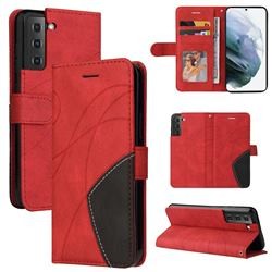 Luxury Two-color Stitching Leather Wallet Case Cover for Samsung Galaxy S21 FE - Red