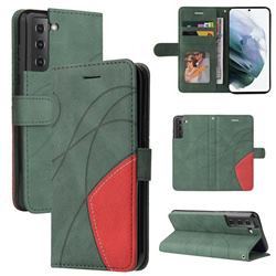 Luxury Two-color Stitching Leather Wallet Case Cover for Samsung Galaxy S21 FE - Green