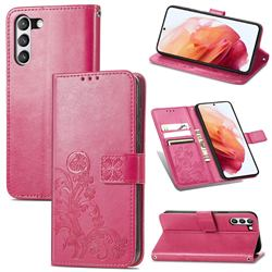 Embossing Imprint Four-Leaf Clover Leather Wallet Case for Samsung Galaxy S21 FE - Rose Red