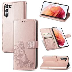 Embossing Imprint Four-Leaf Clover Leather Wallet Case for Samsung Galaxy S21 FE - Rose Gold