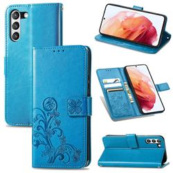 Embossing Imprint Four-Leaf Clover Leather Wallet Case for Samsung Galaxy S21 FE - Blue