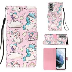 Angel Pony 3D Painted Leather Wallet Case for Samsung Galaxy S21 FE