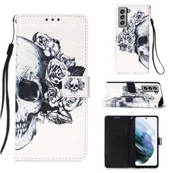Skull Flower 3D Painted Leather Wallet Case for Samsung Galaxy S21 FE