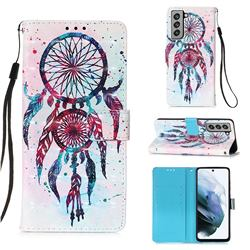 ColorDrops Wind Chimes 3D Painted Leather Wallet Case for Samsung Galaxy S21 FE