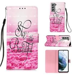 Beautiful 3D Painted Leather Wallet Case for Samsung Galaxy S21 FE