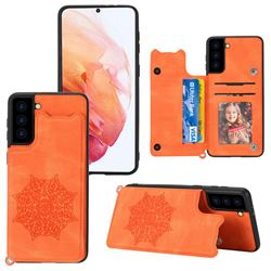 Luxury Mandala Multi-function Magnetic Card Slots Stand Leather Back Cover for Samsung Galaxy S21 FE - Yellow