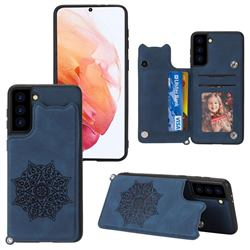 Luxury Mandala Multi-function Magnetic Card Slots Stand Leather Back Cover for Samsung Galaxy S21 FE - Blue