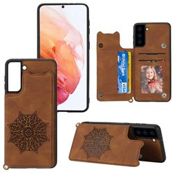 Luxury Mandala Multi-function Magnetic Card Slots Stand Leather Back Cover for Samsung Galaxy S21 FE - Brown