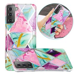 Triangular Marble Painted Galvanized Electroplating Soft Phone Case Cover for Samsung Galaxy S21 Plus / S30 Plus