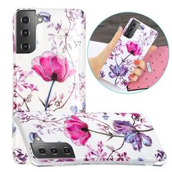 Magnolia Painted Galvanized Electroplating Soft Phone Case Cover for Samsung Galaxy S21 Plus / S30 Plus