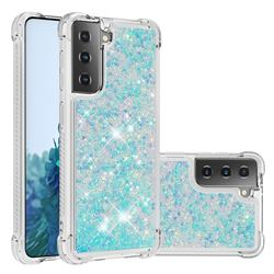 Dynamic Liquid Glitter Sand Quicksand TPU Case for Samsung Galaxy S21 Plus - Silver Blue Star