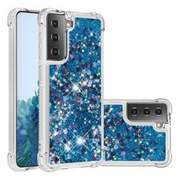 Dynamic Liquid Glitter Sand Quicksand TPU Case for Samsung Galaxy S21 Plus - Blue Love Heart