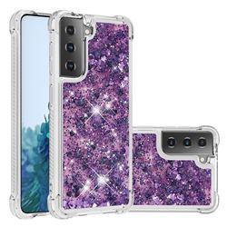 Dynamic Liquid Glitter Sand Quicksand Star TPU Case for Samsung Galaxy S21 Plus - Purple