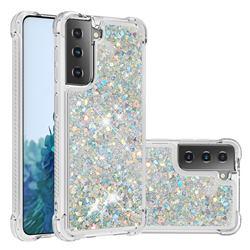 Dynamic Liquid Glitter Sand Quicksand Star TPU Case for Samsung Galaxy S21 Plus - Silver