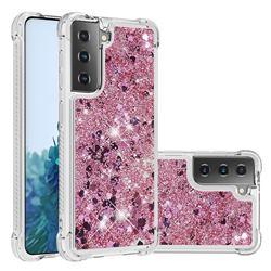 Dynamic Liquid Glitter Sand Quicksand Star TPU Case for Samsung Galaxy S21 Plus - Diamond Rose
