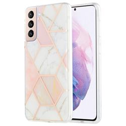 Pink White Marble Pattern Galvanized Electroplating Protective Case Cover for Samsung Galaxy S21 Plus