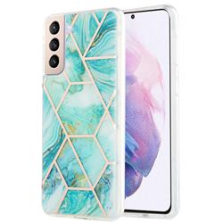 Blue Sea Marble Pattern Galvanized Electroplating Protective Case Cover for Samsung Galaxy S21 Plus