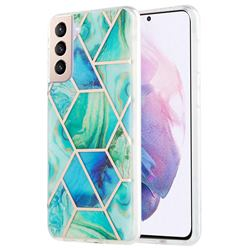 Green Glacier Marble Pattern Galvanized Electroplating Protective Case Cover for Samsung Galaxy S21 Plus