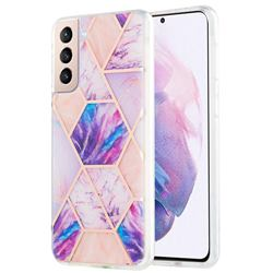 Purple Dream Marble Pattern Galvanized Electroplating Protective Case Cover for Samsung Galaxy S21 Plus