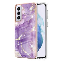 Fashion Purple Electroplated Gold Frame 2.0 Thickness Plating Marble IMD Soft Back Cover for Samsung Galaxy S21 Plus