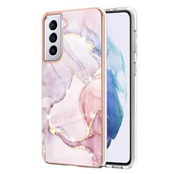 Rose Gold Dancing Electroplated Gold Frame 2.0 Thickness Plating Marble IMD Soft Back Cover for Samsung Galaxy S21 Plus