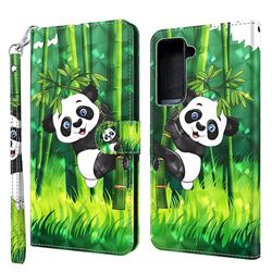 Climbing Bamboo Panda 3D Painted Leather Wallet Case for Samsung Galaxy S30 Plus / S21 Plus