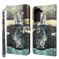 Tiger and Cat 3D Painted Leather Wallet Case for Samsung Galaxy S30 Plus / S21 Plus