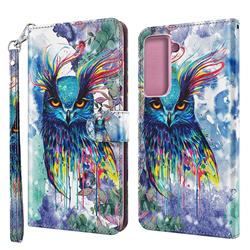 Watercolor Owl 3D Painted Leather Wallet Case for Samsung Galaxy S30 Plus / S21 Plus