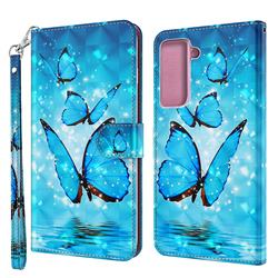 Blue Sea Butterflies 3D Painted Leather Wallet Case for Samsung Galaxy S30 Plus / S21 Plus