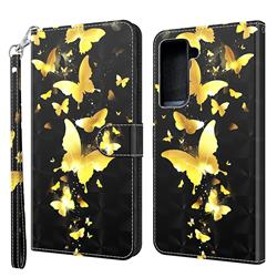 Golden Butterfly 3D Painted Leather Wallet Case for Samsung Galaxy S30 Plus / S21 Plus