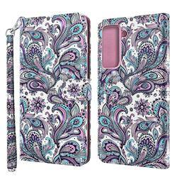 Swirl Flower 3D Painted Leather Wallet Case for Samsung Galaxy S30 Plus / S21 Plus