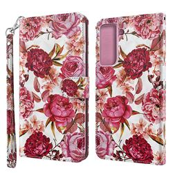 Red Flower 3D Painted Leather Wallet Case for Samsung Galaxy S30 Plus / S21 Plus