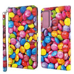 Colorful Jelly Beans 3D Painted Leather Wallet Case for Samsung Galaxy S30 Plus / S21 Plus