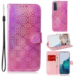 Laser Circle Shining Leather Wallet Phone Case for Samsung Galaxy S21 Plus / S30 Plus - Pink