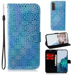 Laser Circle Shining Leather Wallet Phone Case for Samsung Galaxy S21 Plus / S30 Plus - Blue
